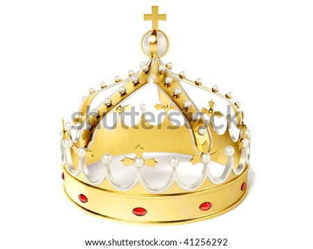 gold croen on white background - stock photo
