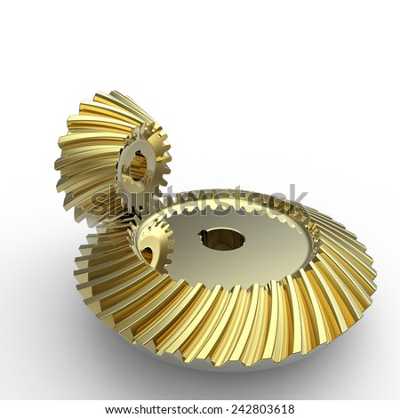 Gold crown and pinion spiral bevel gears on a white background - stock photo