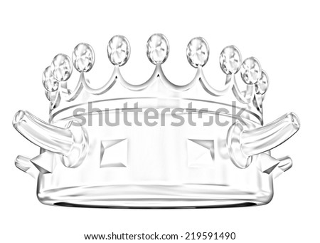 Gold crown isolated on white background. Pencil drawing  - stock photo
