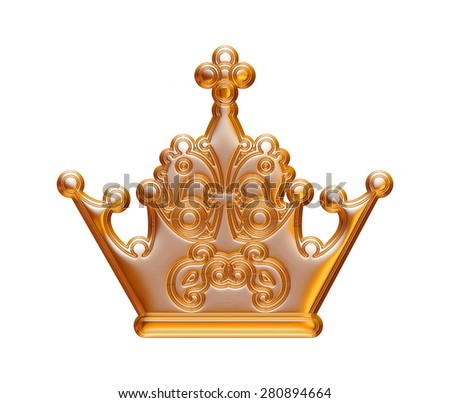 Gold crown isolated white.