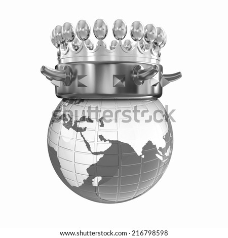 Gold crown on earth isolated on white background  - stock photo
