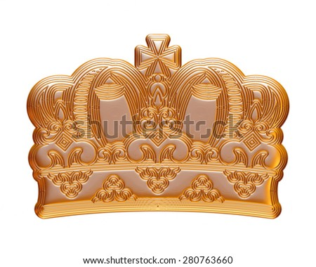 Gold Crown on isolated white.