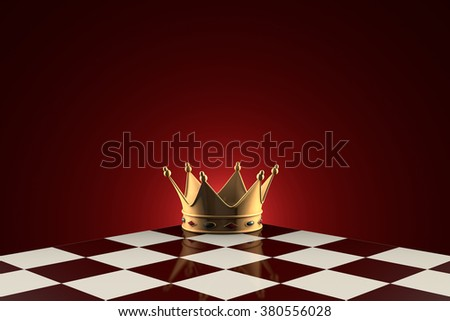 Gold crown on the chessboard. Dark red artistic background.