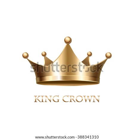 Gold Crown on white Background. Gold Crown. Royal gold crown. Monarch gold crown. Golden crown. Gold crown icon. Grown gold. Gold crown symbol. Royal crown. Gold metal crown - stock photo