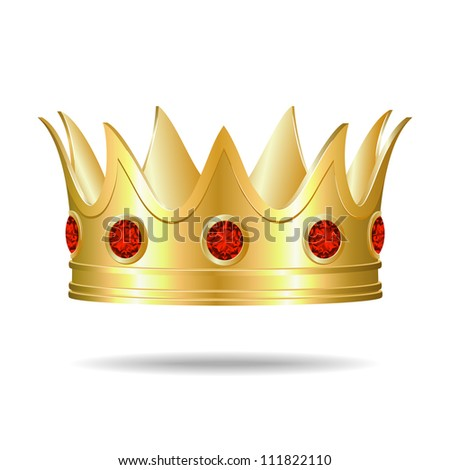 Gold crown with red gems - stock photo