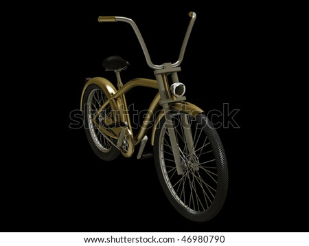 Gold cruiser bike isolated on black - stock photo