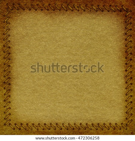 Gold crumpled paper with frame in the form of binding, background texture for your message