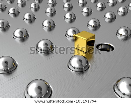 Gold cube among silver spheres. Symbol of uniqueness - stock photo