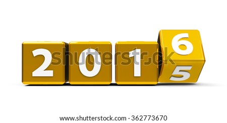 Gold cubes with 2015-2016 change on a white table represents the new 2016, three-dimensional rendering - stock photo