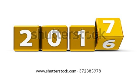 Gold cubes with 2016-2017 change on a white table represents the new 2017, three-dimensional rendering - stock photo