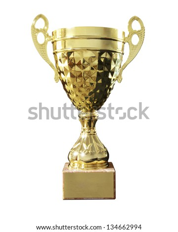 Gold cup isolated on white - stock photo