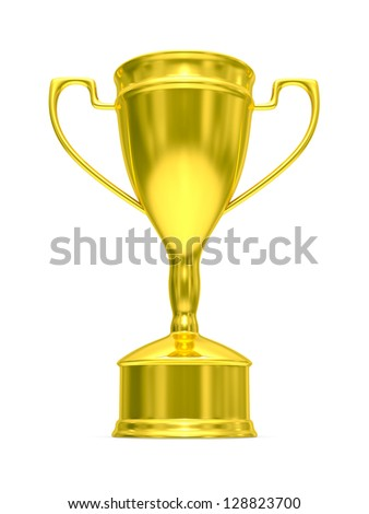 Gold cup of winner on white background. Isolated 3D  image. - stock photo