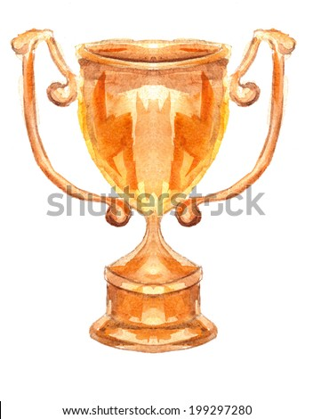 gold cup on white background - stock photo