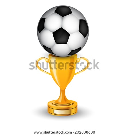 Gold cup winner with soccer ball - stock photo