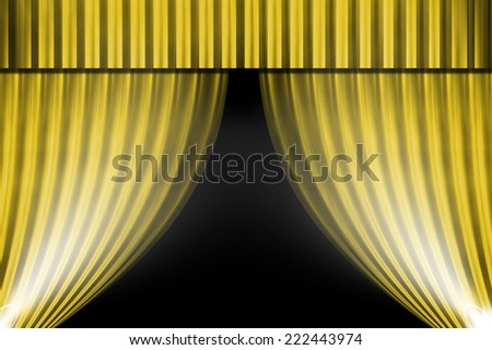 gold curtain and light for background