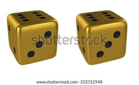 Gold 3D Dice Isolated on White Background, Show Numbers 3 Side and Focus Numbers 3 Side, Render Illustration.