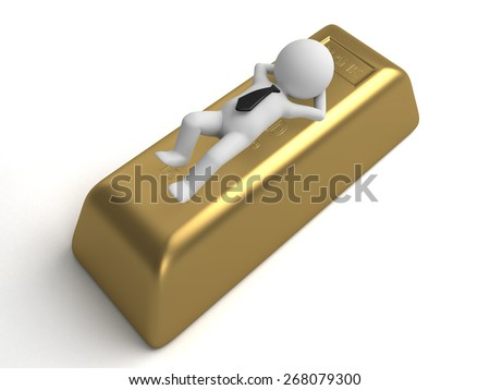 gold/3d people with a big gold stick. 3d image. Isolated white background - stock photo