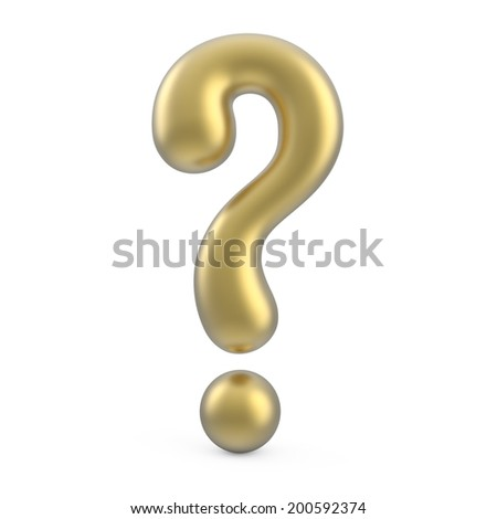 gold 3d question mark isolated on white background - stock photo