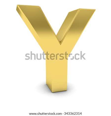Gold 3D Uppercase Letter Y Isolated on white with shadows