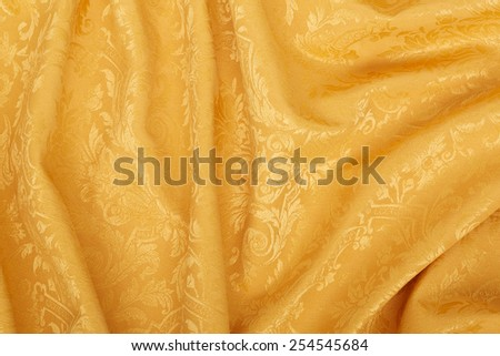 Gold damask floral tapestry wavy texture background - stock photo