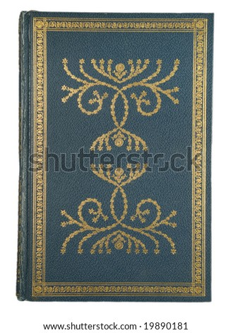 gold-decorated green leather book - stock photo