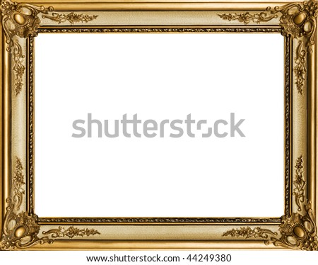 gold decorated wooden frame - stock photo