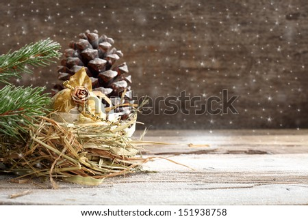 gold decoration of snow  - stock photo