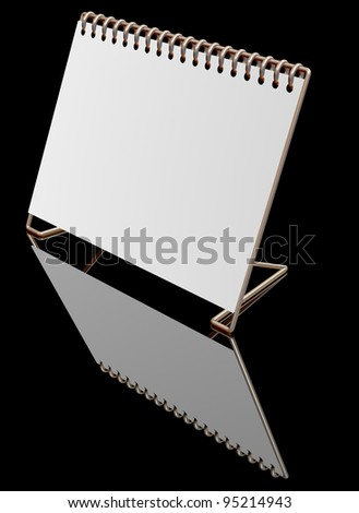Gold Desktop blank calendar on black clipping path