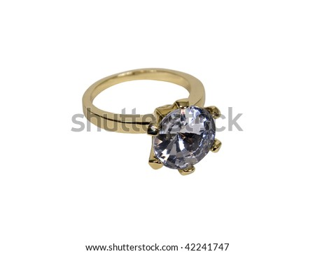 Gold diamond engagement ring with facets that sparkle brightly in the light symbolizing eternity of love - path included