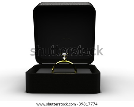 Gold diamond engagement / wedding ring seated in velvet box, isolated