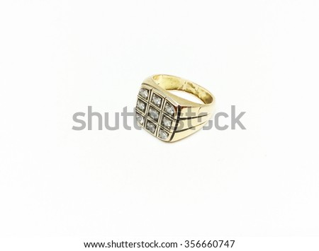 Gold diamond ring isolated on white background