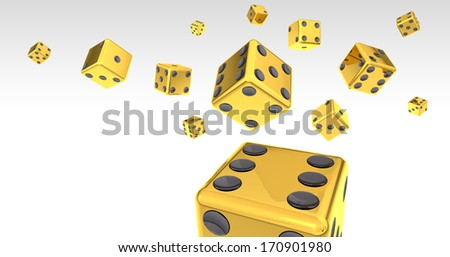 Gold Dice on White Backgound 3D Illustration (with clipping path) - stock photo