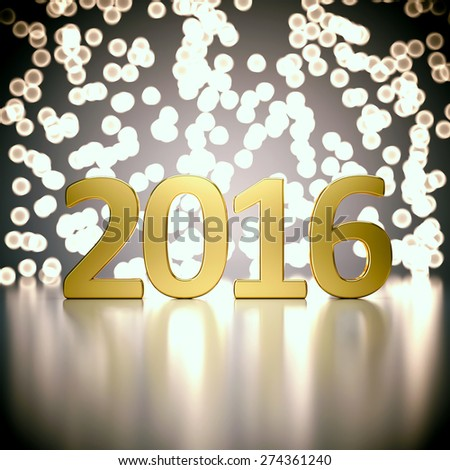 Gold 2016 digits on abstract blurred lights background. 3D render. - stock photo