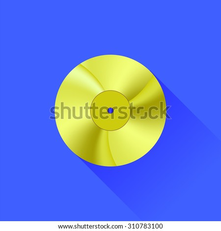 Gold Disc Icon Isolated on Blue Background. Long Shadow - stock photo