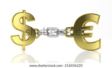 Gold Dollar and Euro symbols linked with chain isolated - stock photo