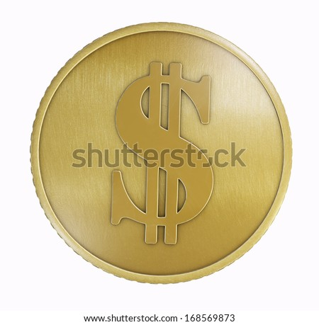 Gold dollar coin. Clipping path included for easy selection.