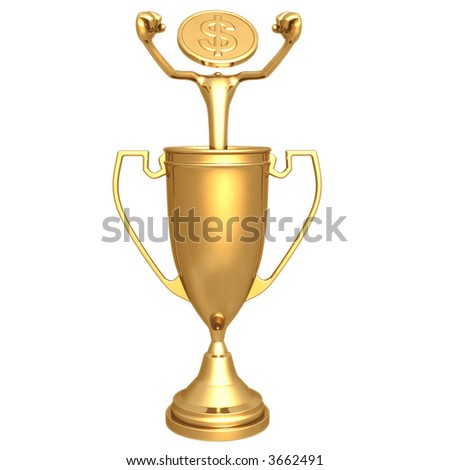 Gold Dollar Coin In Champion Trophy Cup