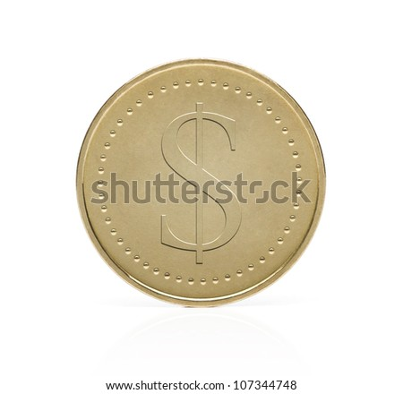 Gold dollar coin isolated on white background - stock photo