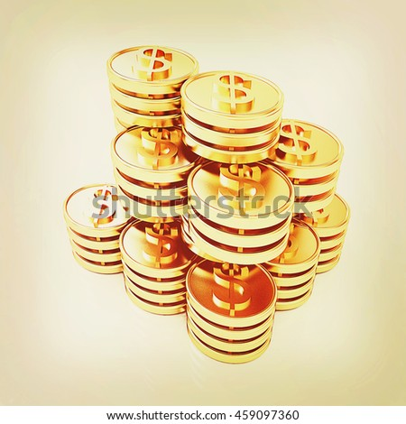 Gold dollar coin stack isolated on white . 3D illustration. Vintage style. - stock photo