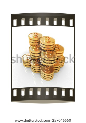 Gold dollar coin stack isolated on white. The film strip - stock photo