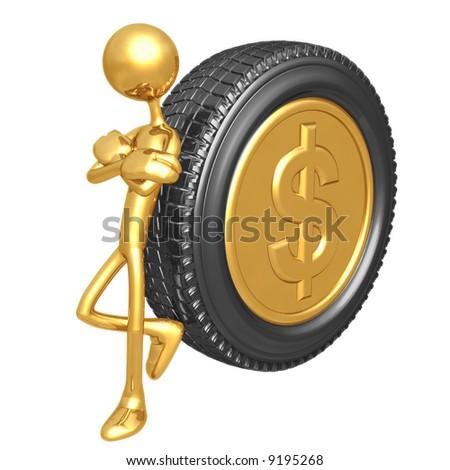 Gold Dollar Coin Tire - stock photo