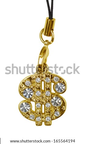Gold dollar pendant isolated on white - stock photo