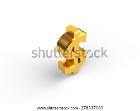 Gold dollar sign - stock photo