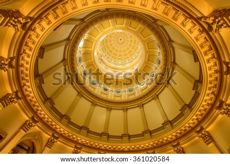 Gold Dome - A close-up inside view of gold dome of Colorado State Capitol Building. - stock photo