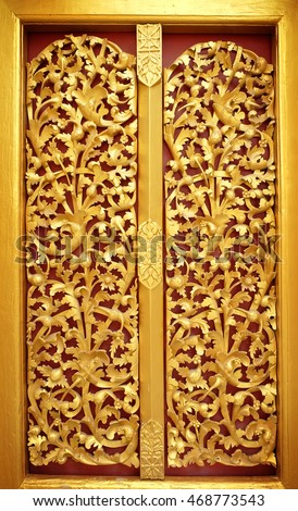 gold door of the temple is very beautiful pattern Lai Kanok (Thai design) carved  sc 1 st  Shutterstock & Gold Door Temple Very Beautiful Pattern Stock Photo (100% Legal ...