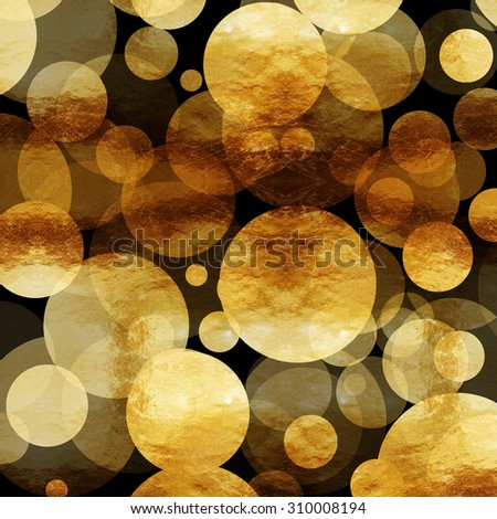 Gold Dots Faux Foil Metallic Black Background Pattern Texture - stock photo
