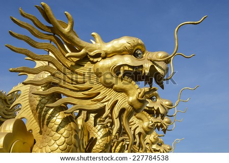 Gold dragon symbol in chinese temple