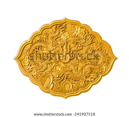 Gold dragons statue from door in Thai-Chinese temple. - stock photo