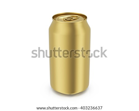 Gold drink can on a white background. 3D illustration.