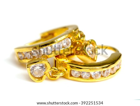 Gold Earrings Stock Royalty Free & Vectors